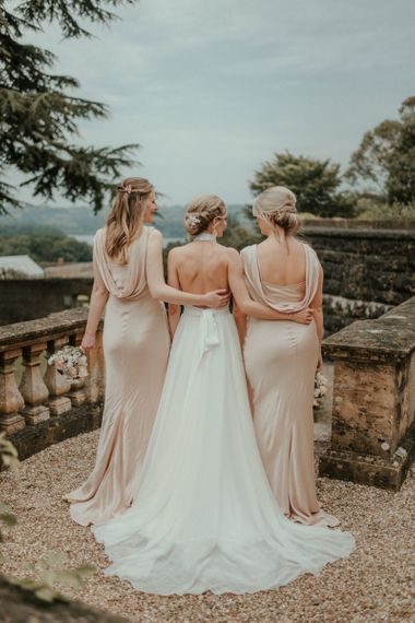 Cowell Back Bridesmaid Dresses Next To Stella McCartney Wedding Dress
