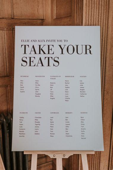 Monochrome Contemporary Table Plan