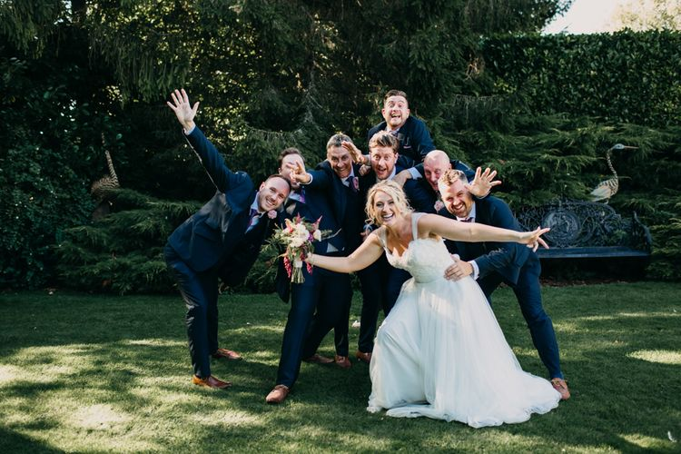 Fun friends | Group shot | Northamptonshire wedding at Plum Park Hotel | Wtoo by Watters from Serendipity Brides | Spindleberry Flowers | Photography by Ania Ames