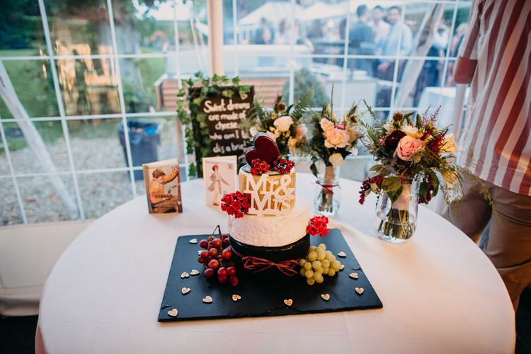 Cake | Cheese | Northamptonshire wedding at Plum Park Hotel | Wtoo by Watters from Serendipity Brides | Spindleberry Flowers | Photography by Ania Ames