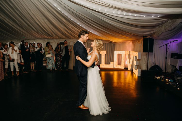 First Dance | Light up Letters | Northamptonshire wedding at Plum Park Hotel | Wtoo by Watters from Serendipity Brides | Spindleberry Flowers | Photography by Ania Ames