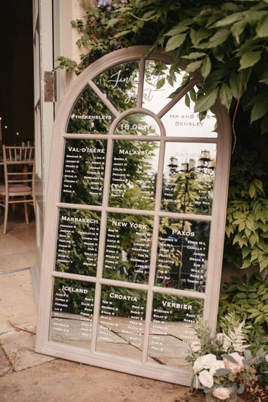 Mirrored Table Plan For Wedding // The Lost Orangery Wedding Venue With Bride In Aston Dress By Rime Arodaky With Groom In Reiss And Images From McGivern Photography
