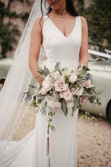 Pale Pink Rose Wedding Bouquet With Foliage // The Lost Orangery Wedding Venue With Bride In Aston Dress By Rime Arodaky With Groom In Reiss And Images From McGivern Photography
