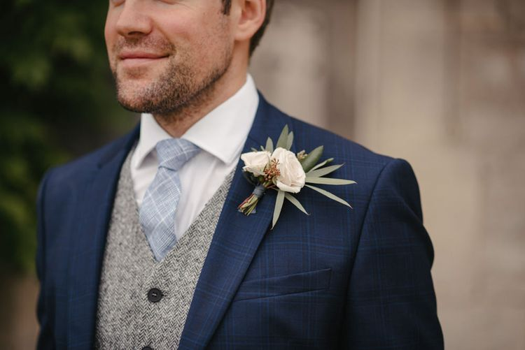 Blue Suit By Reiss For Groom // The Lost Orangery Wedding Venue With Bride In Aston Dress By Rime Arodaky With Groom In Reiss And Images From McGivern Photography