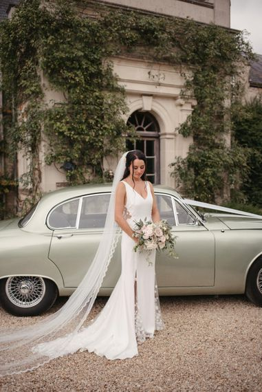 Vintage Jag For Wedding Car // The Lost Orangery Wedding Venue With Bride In Aston Dress By Rime Arodaky With Groom In Reiss And Images From McGivern Photography
