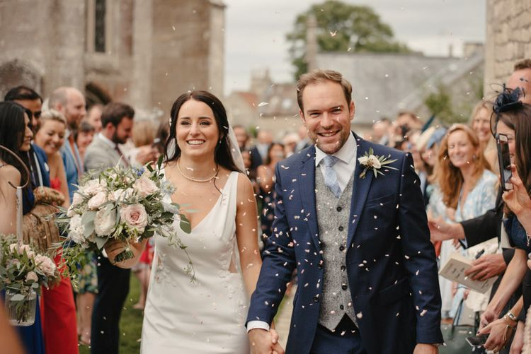 Confetti Shot // The Lost Orangery Wedding Venue With Bride In Aston Dress By Rime Arodaky With Groom In Reiss And Images From McGivern Photography