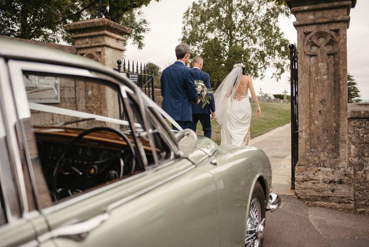Vintage Jag Wedding Car // The Lost Orangery Wedding Venue With Bride In Aston Dress By Rime Arodaky With Groom In Reiss And Images From McGivern Photography