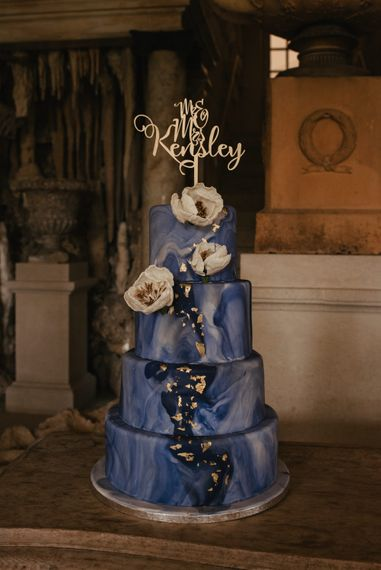 Something Blue Wedding Cake // The Lost Orangery Wedding Venue With Bride In Aston Dress By Rime Arodaky With Groom In Reiss And Images From McGivern Photography