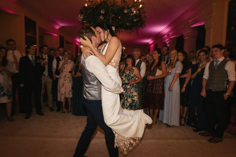 First Dance // The Lost Orangery Wedding Venue With Bride In Aston Dress By Rime Arodaky With Groom In Reiss And Images From McGivern Photography