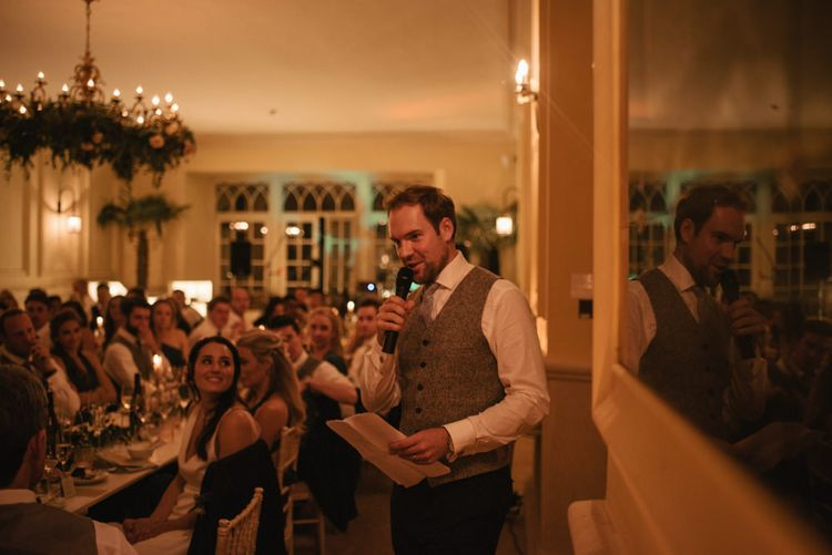 Wedding Speeches // The Lost Orangery Wedding Venue With Bride In Aston Dress By Rime Arodaky With Groom In Reiss And Images From McGivern Photography