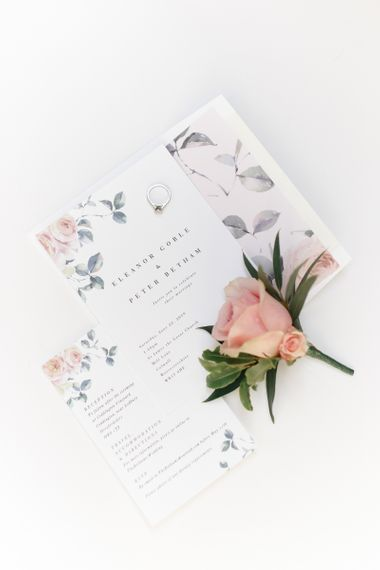 Wedding stationery design with pink heart design