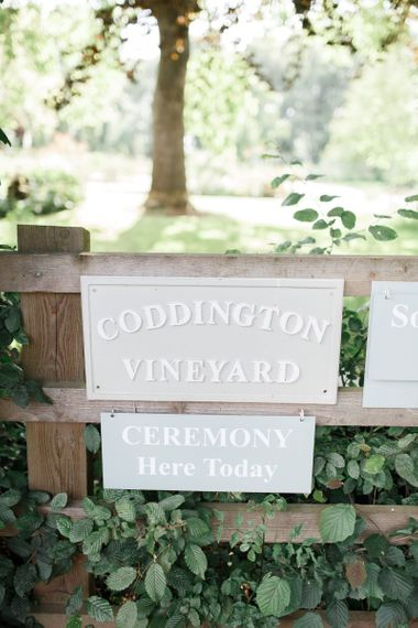 Coddington Vineyard wedding sign