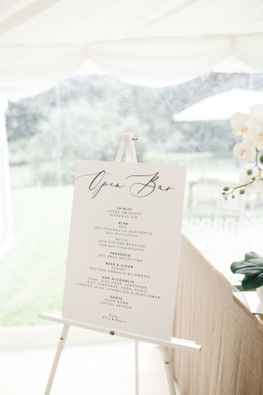 Open bar wedding sign at Coddington Vineyard marquee wedding