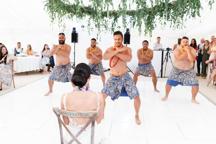 Groom performing a Samoan dance for his new bride at Coddington Vineyard wedding