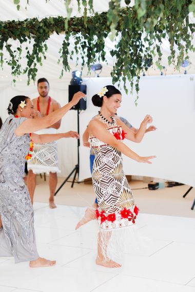 Bride performing a traditional Samoan dance for her groom