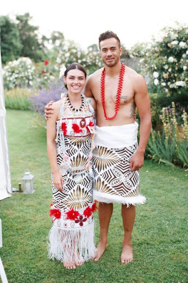 Bride and groom in traditional Samoan dress for Coddington Vineyard wedding
