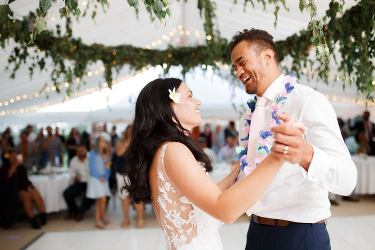 Bride and groom first dance at Coddington Vineyard marquee reception