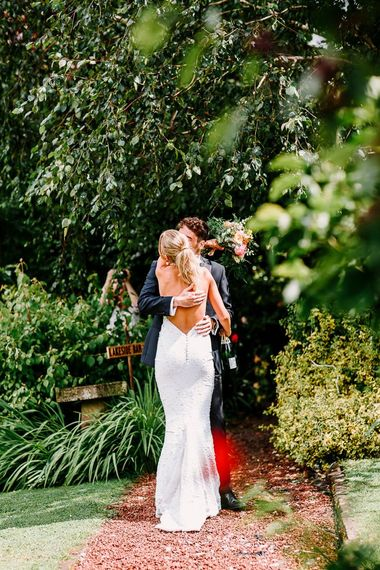 Backless wedding dress with sequins