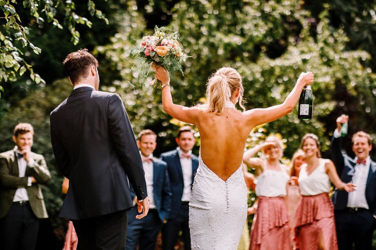 Sequined backless wedding dress