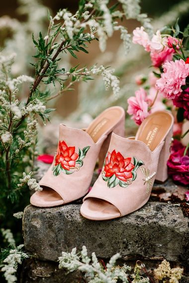 Mule wedding shoes with floral detail