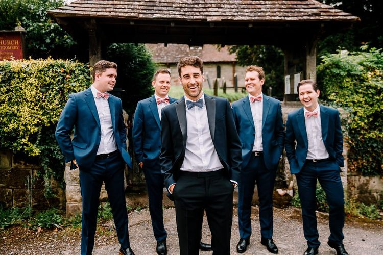 Groom and groomsmen in bowties
