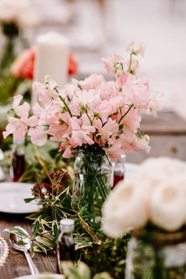 Wedding table flowers and decor