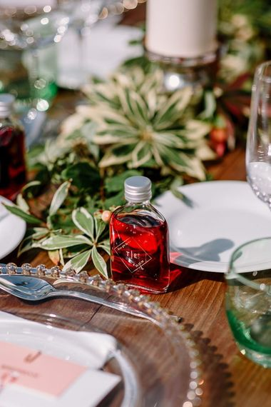 Wedding favours sloe gin bottles
