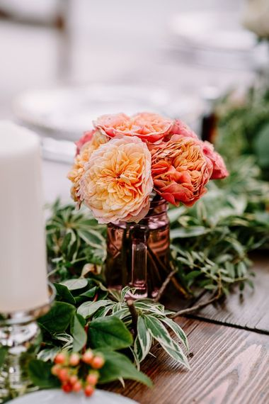 Bright coral wedding flowers