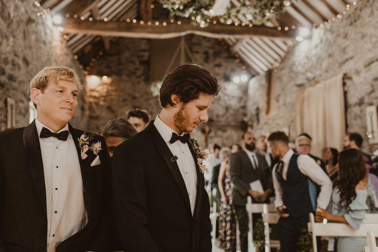 Groom waits for bride at Hafod Farm wedding