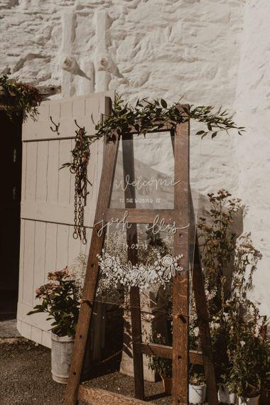 Acrylic wedding signs at Hafod Farm wedding