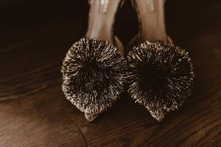 Pom Pom wedding shoes for bride in gold