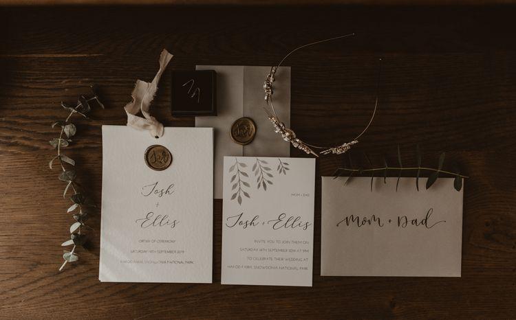 Wedding stationery for Hafod Farm wedding