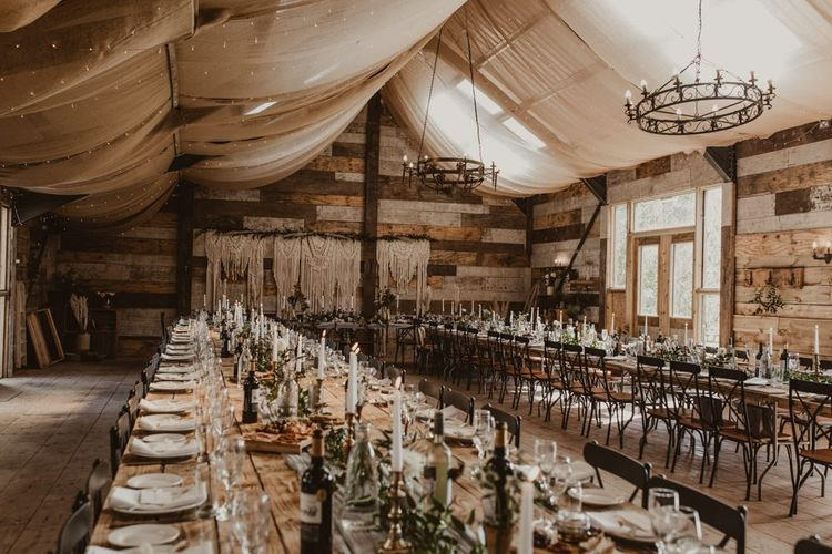 Wedding breakfast decor with pampas grass and fairy lights