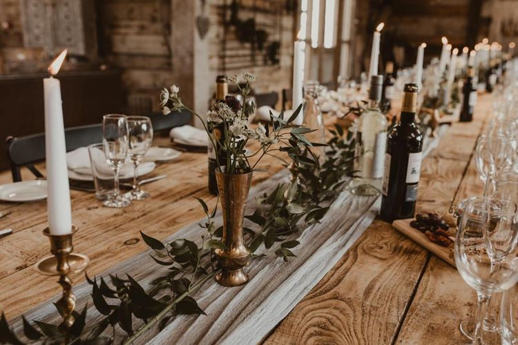 Foliage table runner for wedding breakfast decor