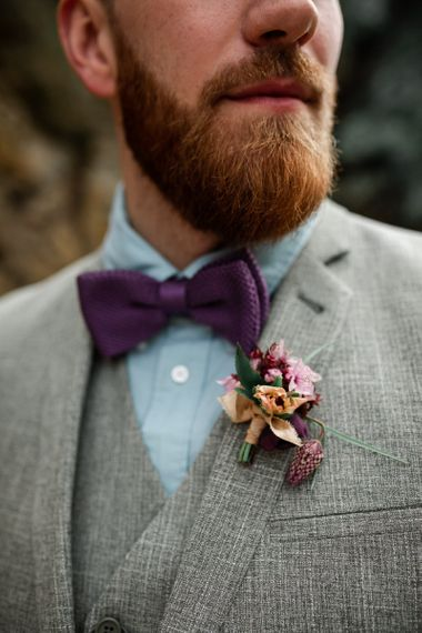 Groom with Grey Suit, Blue Shirt and Deep Purple Bow Tie