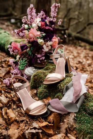 Gold Mim e Moi Wedding Shoes with Different Heels
