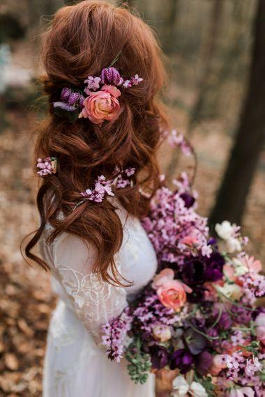 Half Up Half Down Wedding Hair with Fresh Pink Flowers