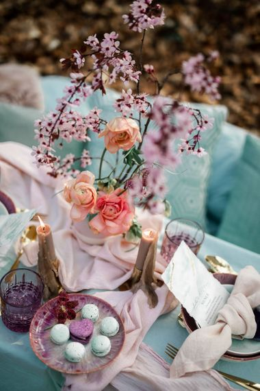 Spring Wedding Flowers of Pink Blossom and Coral Ranunculus
