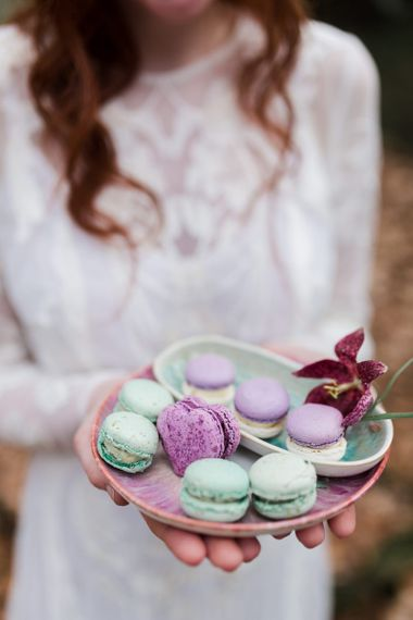Plate of Turquoise and Lilac Macaroons