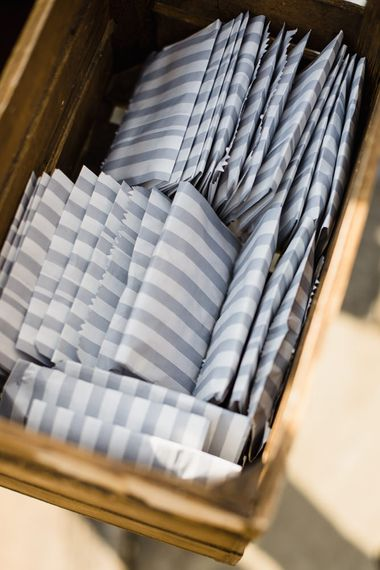 Grey and White Striped Sweet Bags in Crate | Ivania Pronovias Wedding Dress with Long Sleeves and Minimalist Styling | Chris Barber Photography