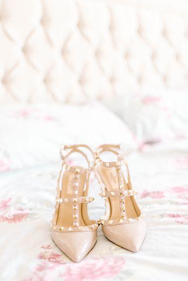 Valention Rockstud Heels   Wedding Shoes   Hazel Gap Barn Wedding with Bride Arriving by Kit Car   Sarah-Jane Ethan Photography