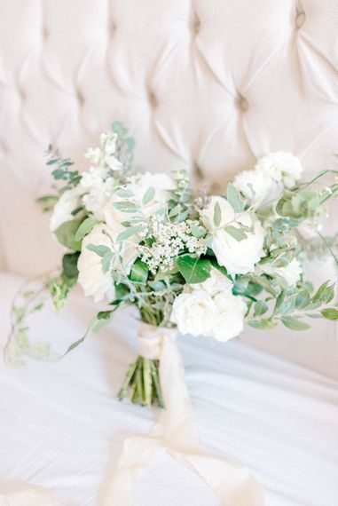 Bridal Bouquet   White Flowers and Green Foliage   Hazel Gap Barn Wedding with Bride Arriving by Kit Car   Sarah-Jane Ethan Photography