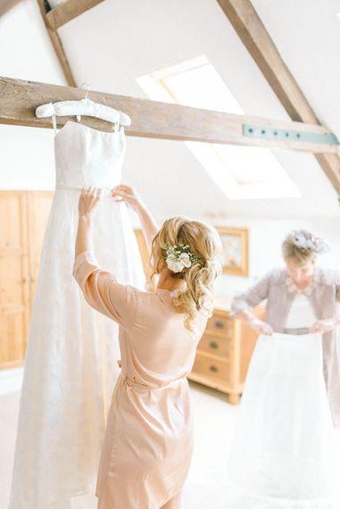 Bridal Morning Preparations   Strapless Sassi Holford Ballgown Wedding Dress with Belt   Hazel Gap Barn Wedding with Bride Arriving by Kit Car   Sarah-Jane Ethan Photography