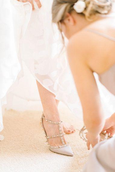Bridal Morning Preparations   Strapless Sassi Holford Ballgown Wedding Dress with Belt   Valentino Rockstud Heels   Hazel Gap Barn Wedding with Bride Arriving by Kit Car   Sarah-Jane Ethan Photography