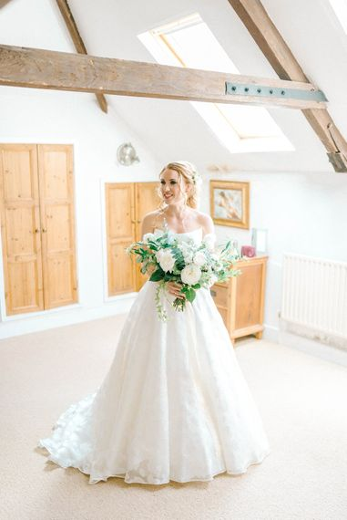 Bridal Morning Preparations   Strapless Sassi Holford Ballgown Wedding Dress with Belt   Bouquet of White Flowers and Foliage   Hazel Gap Barn Wedding with Bride Arriving by Kit Car   Sarah-Jane Ethan Photography