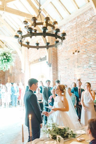 Wedding Ceremony   Bride in Strapless Sassi Holford Ballgown Wedding Dress with Belt   Groom in Blue Check Paul Smith Suit   Hazel Gap Barn Wedding with Bride Arriving by Kit Car   Sarah-Jane Ethan Photography