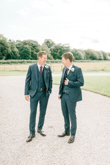 Blue Check Paul Smith Suit for Groom and Best Man   Burgundy Ties   Hazel Gap Barn Wedding with Bride Arriving by Kit Car   Sarah-Jane Ethan Photography