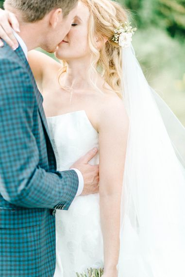 Bride in Strapless Sassi Holford Ballgown Wedding Dress with Belt   Groom in Blue Check Paul Smith Suit   Hazel Gap Barn Wedding with Bride Arriving by Kit Car   Sarah-Jane Ethan Photography