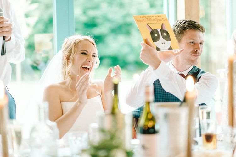 Wedding Reception   Bride in Strapless Sassi Holford Ballgown Wedding Dress with Belt   Groom in Blue Check Paul Smith Suit   Hazel Gap Barn Wedding with Bride Arriving by Kit Car   Sarah-Jane Ethan Photography