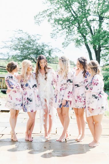 Bridal Party with Bridesmaids in Floral Getting Ready Robes